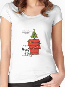 christmas snoopy lights tree Women's Fitted Scoop T-Shirt