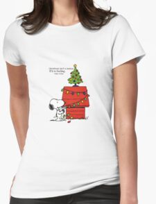 christmas snoopy lights tree Womens Fitted T-Shirt