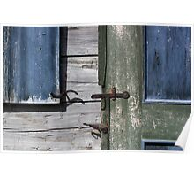 Window and Door Hardware Blue Poster