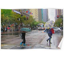 Mother and son on Market Street in the rain Poster