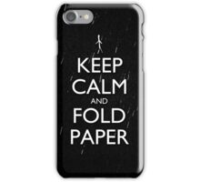 Keep Calm and Fold Paper - Stickman/Rain iPhone Case/Skin