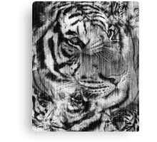 Black and White Layered Tiger Vintage Canvas Print