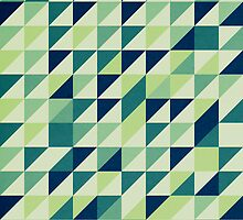 Blue And Green Geometric Grid by perkinsdesigns