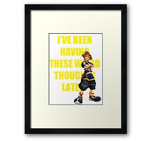 "Sora ""I've Been Having These Wierd Thoughts Latley"" Framed Print"