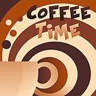Retro Coffee Time Pop Art by Catherina Amor