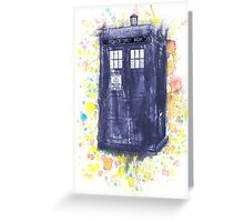 Blue Box in Wibbly Wobbly Watercolour Greeting Card