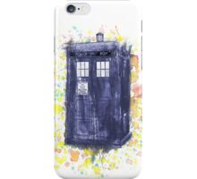 Blue Box in Wibbly Wobbly Watercolour iPhone Case/Skin