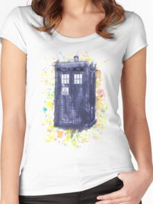 Blue Box in Wibbly Wobbly Watercolour Women's Fitted Scoop T-Shirt