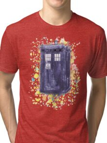 Blue Box in Wibbly Wobbly Watercolour Tri-blend T-Shirt