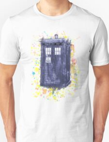 Blue Box in Wibbly Wobbly Watercolour T-Shirt