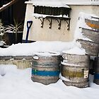 Beer Barrell's in the Snow by Heidi Stewart