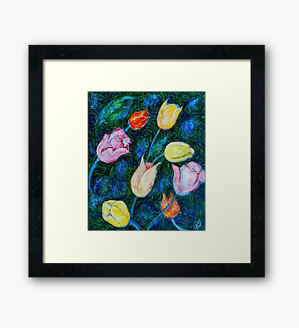 Tulips a bit in Van Gogh style Framed Print