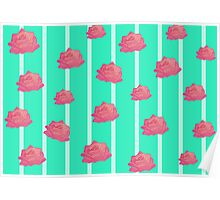 Vintage floral print - roses on turquoise stripes Poster