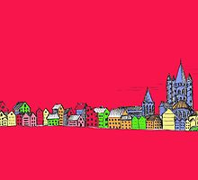 Pink Sketchy Town by Casey Virata