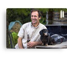 A Man & His Dog Canvas Print