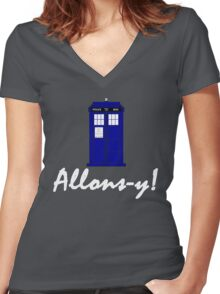 """""""Allons-y!"""" Women's Fitted V-Neck T-Shirt"""