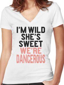 Im WIld She's Sweet We're Dangerous (1 of 2) Women's Fitted V-Neck T-Shirt