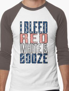I Bleed Red White And Booze Men's Baseball ¾ T-Shirt