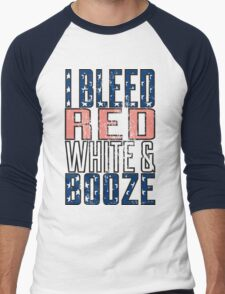 I Bleed Red White And Booze Men's Baseball ¾ T-Shirt
