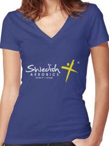 Swedish Aerobics Women's Fitted V-Neck T-Shirt