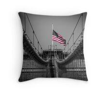 Sorrow at Brooklyn Bridge Throw Pillow