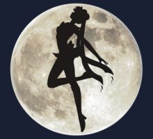 Sailor Moon Silhouette in front of Realistic Moon by ShoeboxMemories