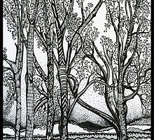 Farm Trees, An Ink Drawing by Danielle J. Scott (Smith)