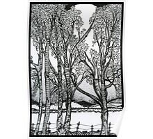 Farm Trees, Ink Drawing Poster