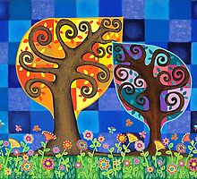 Two Trees by Lisa Frances Judd~QuirkyHappyArt