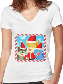 Minecraft Youtuber Stampy Cat, iBallisticsquid, L for Lee x (Christmas, Holiday, Winter Limited Edition) Women's Fitted V-Neck T-Shirt