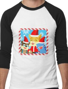 Minecraft Youtuber Stampy Cat, iBallisticsquid, L for Lee x (Christmas, Holiday, Winter Limited Edition) Men's Baseball ¾ T-Shirt
