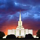 Jordan River Temple Stormy Sunset 30x20 by Ken Fortie