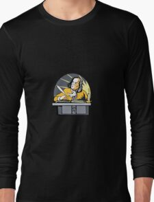 Ben Franklin Writing Retro Long Sleeve T-Shirt