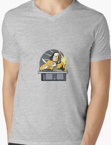 Ben Franklin Writing Retro Mens V-Neck T-Shirt