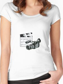 Video Camera Movie Clapboard Retro Women's Fitted Scoop T-Shirt