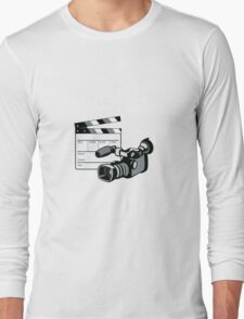 Video Camera Movie Clapboard Retro Long Sleeve T-Shirt