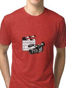 Video Camera Movie Clapboard Retro Tri-blend T-Shirt