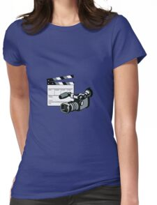 Video Camera Movie Clapboard Retro Womens Fitted T-Shirt