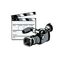 Video Camera Movie Clapboard Retro by patrimonio