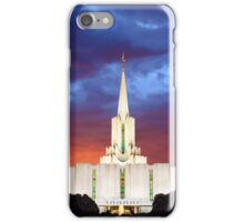 Jordan River Temple Stormy Sunset 30x20 iPhone Case/Skin