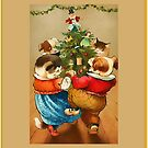 Season's Greetings-Pets around the tree by Yesteryears