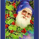 Happy Holidays-Vintage Santa in Blue by Yesteryears