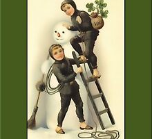 Boys and Snowman Holiday Card by Yesteryears