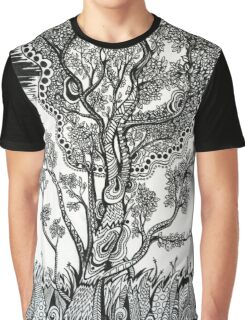 Windblown, A Tree Ink Drawing Graphic T-Shirt