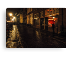 Night Lights of Utrecht. Orange Umbrella. Netherlands Canvas Print