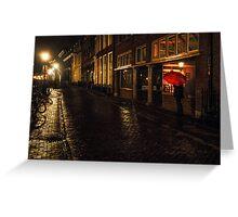 Night Lights of Utrecht. Orange Umbrella. Netherlands Greeting Card