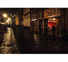 Night Lights of Utrecht. Orange Umbrella. Netherlands Photographic Print
