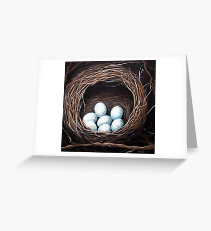 Bird Nest realistic animal art oil painting Greeting Card