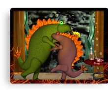 Monsters dancing in the privacy of their room by Valxart.com Canvas Print