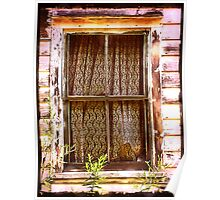 Lace Curtain Window rural decay, abandoned house Poster